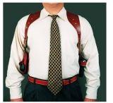 DeSantis Left Hand Tan New York Undercover Shoulder Holster w/ Double Mag Pouch 11DTB86G0 - BERETTA 92 SERIES, 92 COMPACT, 92 & 96 CENTURION