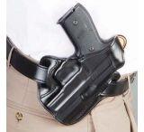 DeSantis Left Hand Black Leather Lined I.C.E. II Holster 011BBM5Z0 - SIG P229 DAK WITH EQUIPMENT RAIL
