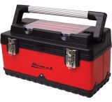 Homak 20in Red Metal & Black Plastic Hand Carry Toolbox w/ Aluminum Handle