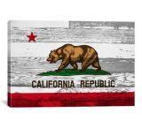 iCanvasART California Flag Wood Boards Canvas Print