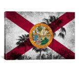 iCanvasART Florida Flag, Grudge Palm Trees Canvas Print