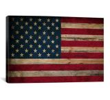 iCanvasART USA Flag Wood Canvas Print