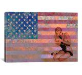iCanvasART Vintage Pinup Girl w/ American Flag - Pink Canvas Print