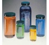 Qorpak Bottle Beakers, Medium Rounds, Wide Mouth, Qorpak 7550 With Pulp/Vinyl-Lined Black Phenolic Cap