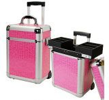 TZ Case AB331T-PA Miniature Professional Rolling Beauty Case Pink Alligator