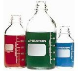 Wheaton Media Bottles, Graduated, Wheaton 219815 With Fluoropolymer Resin-Lined Cap