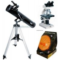 "3-PC Astronomy and Biology Science Gift Package - Konus Campus 1000x Biological Microscope 5326, Bushnell 3"" Telescope 789669, Solarscope 04P101"