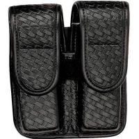 Bianchi 7902 Double Mag Pouch - Basket Black, Brass 22195