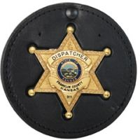 Boston Leather Recessed Circle Badgeclip W/ V