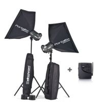 Elinchrom BRX 250 - 2x Head Portalite To Go Kit w/ 2 Stands & 2 Softboxes