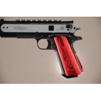 Hogue Govt. Aluminum Handgun Magrip Kit - Flames Arched Matte Red 01232