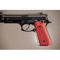 Hogue Taurus PT-99 PT-92 PT-100 PT-101 Handgun Grip With Decocker Checkered Aluminum - Matte Red Anodized 99172
