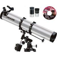 """Meade 114EQ-AR 114mm Telescope 4.5"""" Equatorial Reflector with Red Dot Finder Scope, Full-Size Tripod, 2 Eyepieces, Meade Autostar Suite Software 04067"""