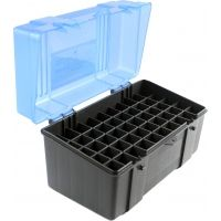 Plano Molding 50 Count Rifle Ammo Case with Hinged Cover, Dark Gray & Trans Blue