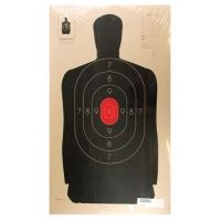 Target Barn B-34 Police Silhouette With Red Center Paper Targets 25 Yard 100 Per Pack B-34RC