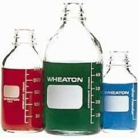 Wheaton Media Bottles, Graduated, Wheaton 219820 With Fluoropolymer Resin-Lined Cap