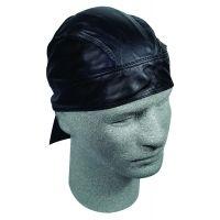 Zan Head Gear Black Leather Flydannas - Biker Headwear
