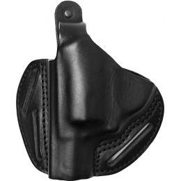 BlackHawk 3 Slot Leather Pancake Holster, Black, Right Hand - S&W J Frames  — Color: Black, Finish: Matte, Fabric/Material: Leather, Holster Type: Belt