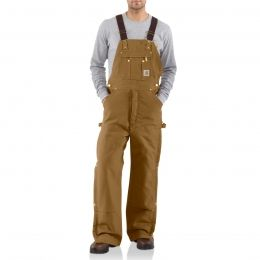Carhartt Mens Quilt Lined Zip To Thigh Bib Overalls R41