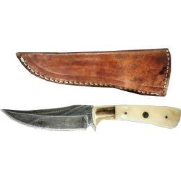 Titan Damascus Fixed Blade Knife, Camel Bone TD -100 | Free