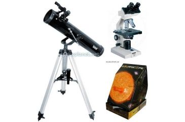 3-PC Astronomy and Biology Science Gift Package - Konus Campus 1000x Biological Microscope 5326, Bushnell 3'' Telescope 789669, Solarscope 04P101
