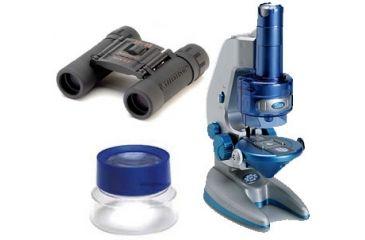 3-PC Magnify the World Science Gift Package - Carson Magnifier BL55, Celestron UpClose 12x25 Binocular 71134, Konus Konuspix Digital Toy Microscope 5023