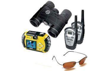 5-PC Outdoor Adventure Hiking Gift Kit - Bushnell Outdoor 3.2MP Water Resistant Digital Camera, Tasco 10x25 World Class Waterproof Binoculars w/ Two FRS 2-Way Radios, Serengeti Driver Polarized Photochromic Sungalsses 6844