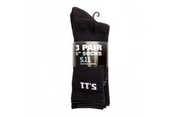 5.11 Tactical Black 6 inch Socks - 3 pack 50078-019
