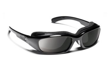 7eye 160541 Churada Single Vision Sunglasses Airshield Glossy Black Frames