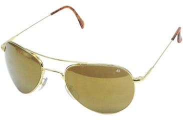 AO II 8-Base Sunglasses, Gold, Wire Spatula, Gold Mirror Poly Lens, 52mm, Small G-GMP-WS-52