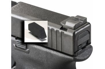 AmeriGlo Black Front and Rear set Glock 17,19,22,23,24,26,27,33,34,35,37,38,39 .115in. Serrated Front, .180in. rounded notch on Flat Black Rear GT-507