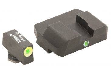 AmeriGlo Tritium Front Tritium Rear Glock 17,19,22,23,24,26,27,33,34,35,37,38,39 Pro i-Dot set Green / Lime Outline ProGlo Front with single Green Rear GL-301