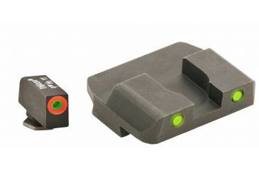 AmeriGlo Tritium Front Tritium Rear Glock 20,21,29,30,31,32,36 ProGlo, Orange Circle Front and Pro Op Rear, yellow GL-449