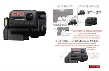 ArmaLaser Sub Compact Universal Grip Laser, Black GTO