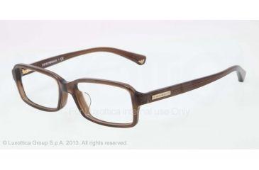 Armani EA3010F Single Vision Prescription Eyeglasses 5073-54 - Dark Brown Transp Frame
