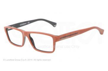 Armani EA3013 Single Vision Prescription Eyeglasses 5106-52 - Top Brick Red On Dark Gray Frame