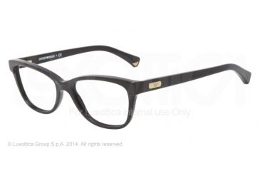 Armani EA3015 Single Vision Prescription Eyeglasses 5001-51 - Matte Black/Black Frame