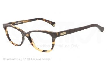 Armani EA3015 Single Vision Prescription Eyeglasses 5107-51 - Havana/brown Frame