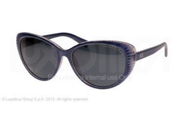 Armani Exchange AX4013 Sunglasses 805787-59 - Space Blue/light Chrome Frame, Grey Solid Lenses