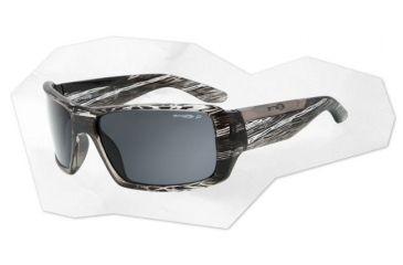 Arnette Big Deal Sunglasses - Black & Clear Striped Havana Frame and Grey Polarized Lens AN4168-06