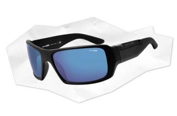 Arnette Big Deal Sunglasses - Matte Black Frame and Blue Mirror Lens AN4168-01