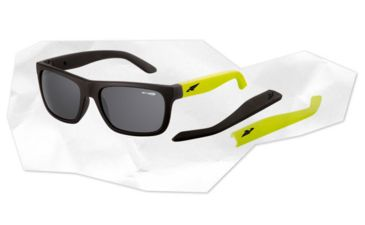 Arnette Dropout Sunglasses - Fuzzy Black/Fuzzy Neon Yellow Frame and Grey Lens AN4176-02