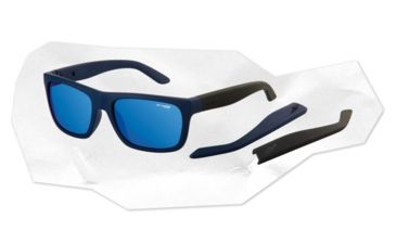 Arnette Dropout Sunglasses - Fuzzy Navy/Fuzzy Grey Frame and Blue Mirror Lens AN4176-03