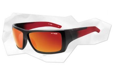 Arnette Hazard Sunglasses - Matte Transparent Red w/ Black Front Frame and Mirror Red Lens AN4167-06