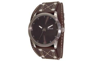 Axcent Spike Round Watch, Dark Brown Strap, Black Face, Silver Hands X34001-640