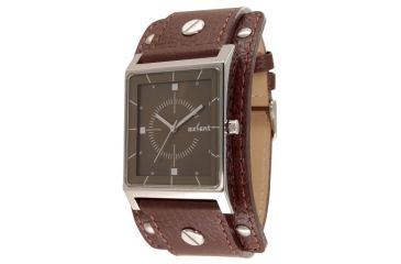 Axcent Expander Watch, Dark Brown Strap, Olive Face, Silver Hands X38001-466