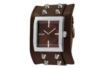 Axcent Spike Square Watch, Brown Strap, Brown Face, Silver Hands X45011-736