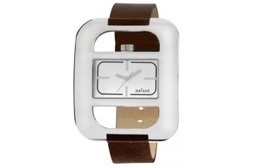 Axcent Eccentric Watch, Brown Strap, Silver Face, Silver Hands X59982-636