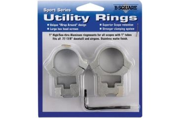 """B-Square Sport Utility Rings - 1"""" x .22 Dovetail - High, See-Thru, Stainless Steel 27057"""