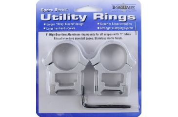 B-Square Sports Utility Weaver Aluminum 1in Rings, High, Silver 1008631